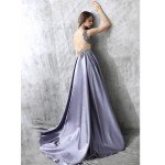 Noble Sweep/Brush Train Gray Satin Tulle Evening Dress Fashion V-neck Illusion Back Party Dress With Crystal Beading New
