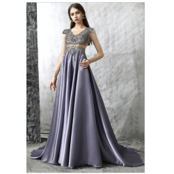 Noble Sweep Brush Train Gray Satin Tulle Evening Dress Fashion V Neck Illusion Back Party Dress With Crystal Beading