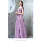 Fashion Temperament Floor-length Boat-neck Lavender Tulle Evening Dress With Handmade Stereoscopic Flowers/Sequines New