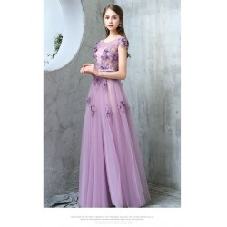 Fashion Temperament Floor-length Boat-neck Lavender Tulle Evening Dress With Handmade Stereoscopic Flowers/Sequines