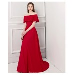 Dignified Atmosphere Sweep/Brush Train Red Satin Evening Dress Off The Shoulder Lace-up Engagement Dress With Sequines New
