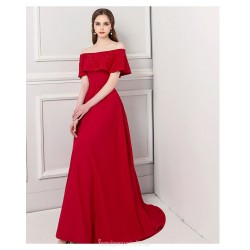 Dignified Atmosphere Sweep/Brush Train Red Satin Evening Dress Off The Shoulder Lace-up Engagement Dress With Sequines