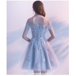 A-line Knee-length Blue Lace Tulle Party Dress Off The Shoulder Lace-up Semi Formal Dress With Appliques New
