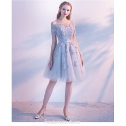 A-line Knee-length Blue Lace Tulle Party Dress Off The Shoulder Lace-up Semi Formal Dress With Appliques