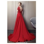 Noble Court/Train Red Satin Lace Prom Dress Boat-neck Fashion Backless Short Sleeves Engagement Dress With Appliques/Beaded/Slit New