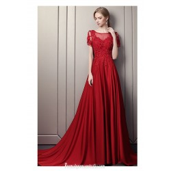 Noble Court/Train Red Satin Lace Prom Dress Boat-neck Fashion Backless Short Sleeves Engagement Dress With Appliques/Beaded/Slit