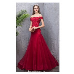Glamorous Fish Tail Burgundy Tulle Engagement Dress Off The Shoulder Lace-up Prom Dress With Sequines/Beaded