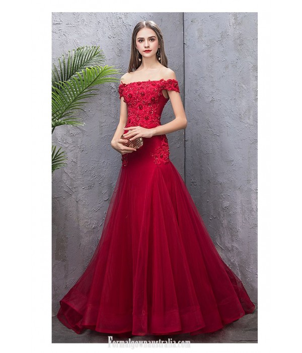 Glamorous Fish Tail Burgundy Tulle Engagement Dress Off The Shoulder Lace-up Prom Dress With Sequines/Beaded New