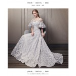 Fashion Sweep/Brush Train Grey Lace Evening Dress Illusion-neck Lace-up Princess Sleeve Formal Dress With Appliques/Sequines New