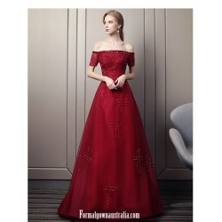 2020 New Fashion Burgundy Tulle Evening Dress Off The Shoulder Lace Up Engagement Dress With Sequines Beaed