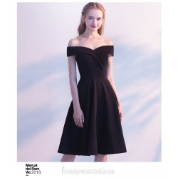 Simple A-line Knee-length Black Chiffon Semi Formal Dress Off The Shoulder Zipper Back Party Dress