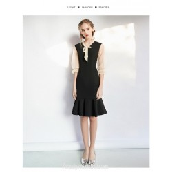Sexy Knee-length Fish Tail Little Black Dress Fashion Lace up Neckline Zipper Back 3/4 Lace Sleeves Party Dress