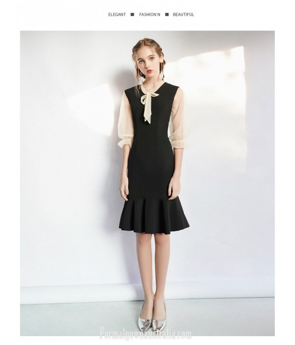 Sexy Knee-length Fish Tail Little Black Dress Fashion Lace up Neckline Zipper Back 3/4 Lace Sleeves Party Dress New