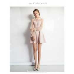 Elegant Short Blushing Pink Party Dress Fashion Collar Zipper Back Lace Sleeves Semi Formal Dress