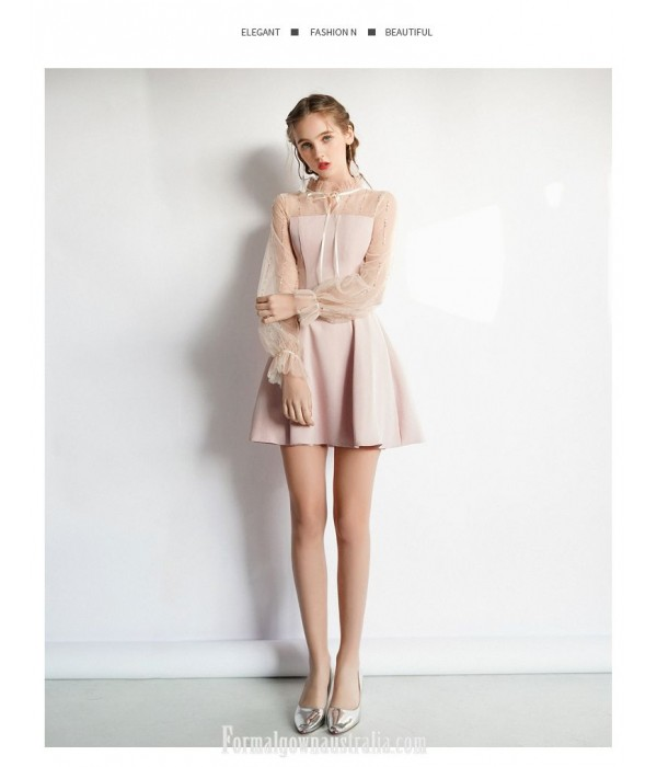 Elegant Short Blushing Pink Party Dress Fashion Collar Zipper Back Lace Sleeves Semi Formal Dress New