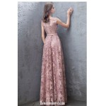 Fashion Nobility Floor-length Pink Lace Evening Dress Boat-neck Invisible Zipper Sleevless Formal Dress New