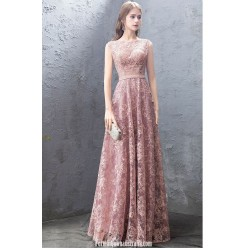 Fashion Nobility Floor Length Pink Lace Evening Dress Boat Neck Invisible Zipper Sleevless Formal Dress