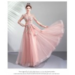 Romantic Floor-length Pink Evening Dress Exquisite Embroidery Fashion Breasted Standing Collar Long Sleeves Formal Dress New
