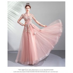 Romantic Floor Length Pink Evening Dress Exquisite Embroidery Fashion Breasted Standing Collar Long Sleeves Formal Dress