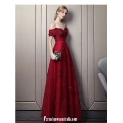 Glamorous A Line Floor Length Burgundy Lace Prom Dress Off The Shoulder Lace Up Formal Dress With Appliques Sequines