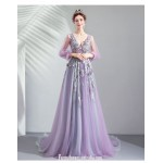 Allure Sweep/Brush Train Purple Tulle Prom Dress Deep V-neck Lace-up Exquisite Embroidery Fashion Long Sleeves Party Dress With Sequines New