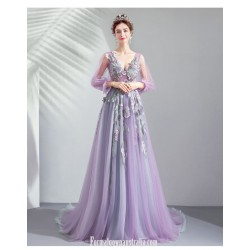 Allure Sweep/Brush Train Purple Tulle Prom Dress Deep V-neck Lace-up Exquisite Embroidery Fashion Long Sleeves Party Dress With Sequines