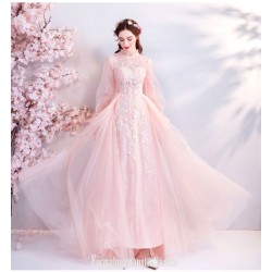 Elegant Floor Lengh Bright Petals Pink Tulle Evening Dress Long Lace Sleeves Standing Collar Keyhole Back Lace Up Formal Dress With Beaded