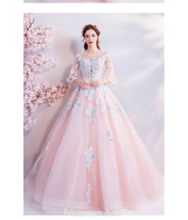 Romantic Floor-length Pink Tulle Ball Gown Lace-up Transparent Sleeve Illusion-neck Evening Dress With Sequines New