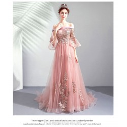 Brilliant Sweep Brush Train Blushing Pink Prom Dress Off The Shoulder Lace Up Fashion Pagoda Sleeve Formal Dress With Appliques Beaded