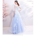 Elegant Floor-length Sky Blue Evening Dress Transparent Sleeve Illusion-neck Lace-up Formal Dress With Appliques/Sequines New