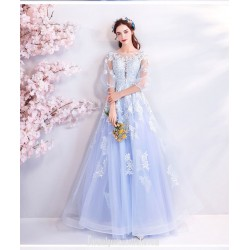 Elegant Floor-length Sky Blue Evening Dress Transparent Sleeve Illusion-neck Lace-up Formal Dress With Appliques/Sequines