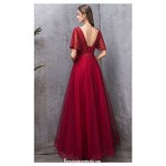 Contemporary Floor-length Burgundy Tulle Evening Dress Scoop-neck Lace-up Short Sleeves Engagement Dress With Sequines New