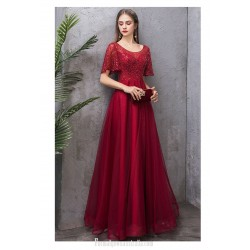 Contemporary Floor-length Burgundy Tulle Evening Dress Scoop-neck Lace-up Short Sleeves Engagement Dress With Sequines