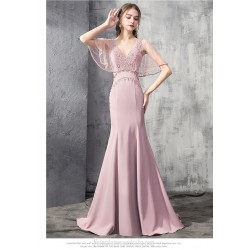 Noble Mermaid Trumpet Fish Tail Satin Evening Dress Fashion V Neck Backless Formal Dress With Sequines
