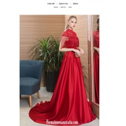 Noble Temperament Sweep Brush Train Red Satin Engagement Dress High Neck Open Back Lace Up Evening Dress With Appliques Sequines Beaded