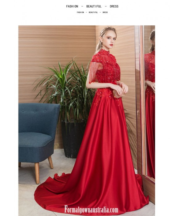 Noble Temperament Sweep/Brush Train Red Satin Engagement Dress High-neck Open Back Lace-up Evening Dress With Appliques/Sequines/Beaded New