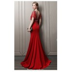 Sexy Mermaid/Trumpet Fish Tail Red Satin Engagement Dress V-neck Backless Prom Dress With Sequines New