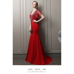 Sexy Mermaid/Trumpet Fish Tail Red Satin Engagement Dress V-neck Backless Prom Dress With Sequines