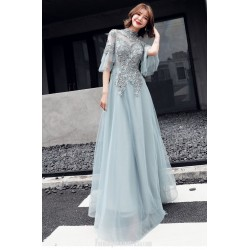 2020 New Fashion Noble Greyish Green Evening Dress Fashion Collar Keyhole Back Lace Up Formal Dress With Appliques Beaded