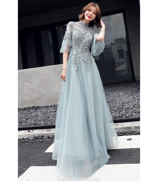 2020 New Fashion Noble Greyish Green Evening Dress Fashion Collar Keyhole Back Lace-up Formal Dress With Appliques/Beaded New