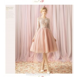 Sweet A Line Knee Length Pink Tulle Lace Semi Formal Dress Lace Collar 3 4 Sleeves Party Dress
