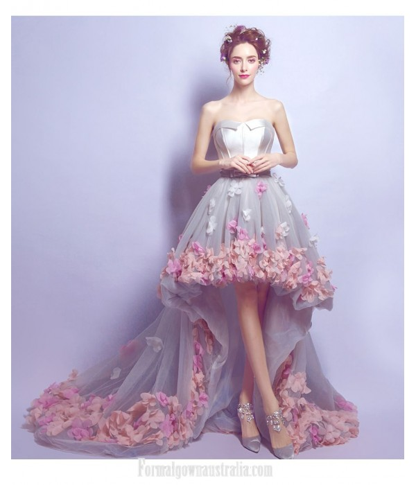 Romantic Fashion Court/Train Prom Dress Strapless Lace-up Handmade Stereoscopic Flowers Party Dress New