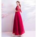 Fashionable Atmosphere Floor-length Red Tulle Evening Dress Lace-up Lotus Leaf Sleeve Scoop-neck Engagement Dress With Beaded New