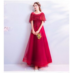 Fashionable Atmosphere Floor-length Red Tulle Evening Dress Lace-up Lotus Leaf Sleeve Scoop-neck Engagement Dress With Beaded
