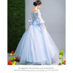 Elegant Floor-length Blue Tulle Ball Gown Off The Shoulder Lace-up Pagoda Sleeve Formal Dress With Appliques/Sequines New