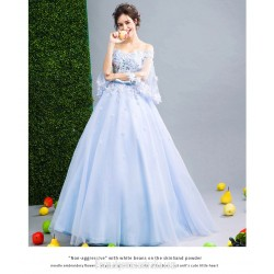 Elegant Floor Length Blue Tulle Ball Gown Off The Shoulder Lace Up Pagoda Sleeve Formal Dress With Appliques Sequines