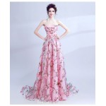 Romantic Sweep/Brush Train Pink Formal Dress Strapless Lace-up Handmade Stereoscopic Flowers Prom Dress New