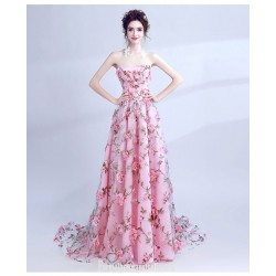 Romantic Sweep/Brush Train Pink Formal Dress Strapless Lace-up Handmade Stereoscopic Flowers Prom Dress