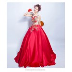 Fashionable Floor-length Red Satin Formal Dress Lace-up Exquisite Embroidery Engagement Dress With Beaded New