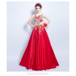 Fashionable Floor Length Red Satin Formal Dress Lace Up Exquisite Embroidery Engagement Dress With Beaded